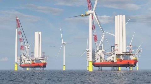 VINDKRAFTSATSING: Kinesiske COSCO har valgt Kongsberg Maritime som leverandør av integrerte styringssystemer for to vindkraftinstallasjonsskip som skal bygges for danske Cadeler.