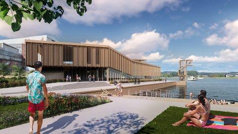SOMMER OG SOL: Slik ser Selvaag Eiendom og Kaldnes Vest for seg at det nye svømmeanlegget kan se ut. Beliggenheten er tett opptil den planlagte bystranda på Kaldnes.