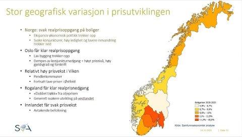 VARMT OG KALDT: Områder som er merket med rødt ventes å få den sterkeste prisoppgangen, typisk rundt Oslo. I Stavanger-regionen og Innlandet går det mot en lav prisstigning. Foto: (Samfunnsøkonomisk Analyse)