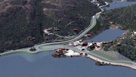 VENTET LENGE: Etablering av fylling i vannet, rundkjøring og 200 meter gang- og sykkelvei mot Tjørhomfjellet har stått på vent lenge. Nok en gang er anbudsrunden utsatt
