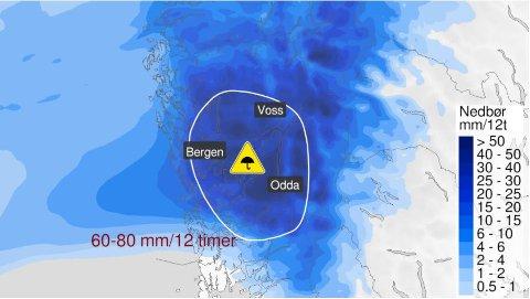 MØRKEBLÅTT: Her er fronten som no ligg over delar av vestlandet.