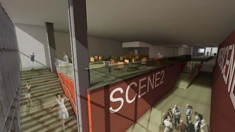 Slik ser de for seg at publikumsarealet i scenekunsthuset skal se ut. Det er tenkt plassert i «svømmehallen» mellom scenene og over scene 2 frem mot glassveggen.