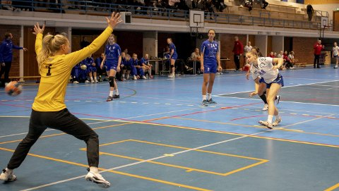 Maren Gabrielsen scoret på straffe foran to hundre tilskuere. Seks sekunder før slutt sto det 24-24. FOTO: BERNT-ERIK HAALAND