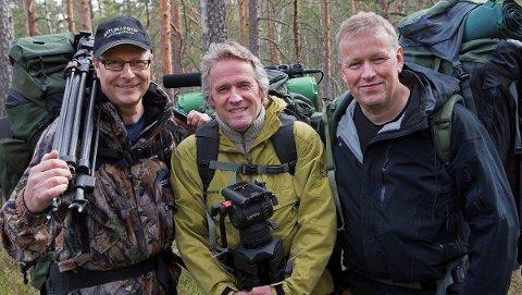 Fotografering og filming har vært en hobby hele livet for Guttorm Næss, men han har også laga fine naturprogrammer for NRK sammen med  Baard Næss (t.v.) og Torbjørn Martinsen (t.h.).
