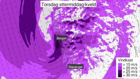 KRAFTIGE KAST: Torsdag vil vinden ta godt tak mange stader på Vestlandet.