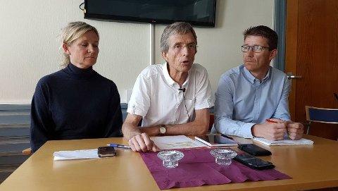 ALVORSTYNGET:  Mona Jerdahl Fineide, rektor Hans Blom (midten) og informasjonssjef Tore Petter Engen ved Høgskolen i Østfold fortalte fredag at det er oppdaget mulig forskningsjuks ved skolen.