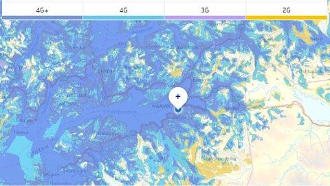 Dette kartet viser hvor det er dekning i Ofoten.