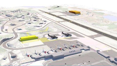 KOSTER MER: Denne illustrasjonen viser hvor den gamle (oransje bygning) var tenkt plassert. I de nye løsninger er hangaren flyttet lenger sør, i tillegg til at den er vridd slik at den blir stående parallelt med vindretningen som kan føre til turbulens.