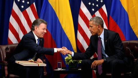 President Barack Obama møtte Colombias president Juan Manual Santos i New York 21 september 2016.