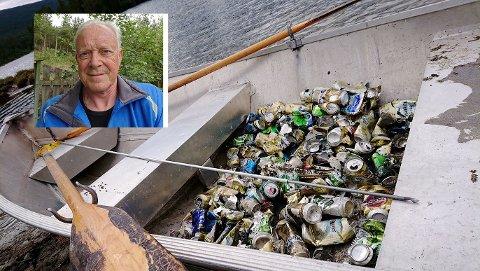 SØPPEL: Alfred Sperstad (innfelt) fylte båten sin med ølbokser da han var på den noe spesielle fisketuren i helga. - Dette var ikke noe hyggelig. Folk må skjerpe seg, sier 68-åringen.
