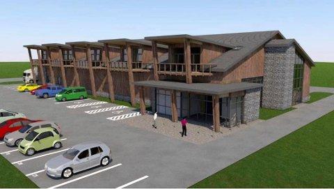 NY BUTIKK: Slik har det nye bygget som skal huse butikk og leiligheter i Mesnali tidligere blitt framstilt. Nå kan det også bli legekontor i bygget. ILLUSTRASJON: Arkitektbua
