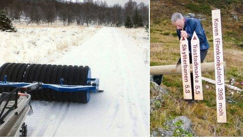 SNØFATTIG: Roar Røkenes i Kvæfjordløyper sier at årets vinter er den rake motsetningen av det vi så forrige sesong. Til venstre ser du tilstanden da det ble preparert løype lørdag.