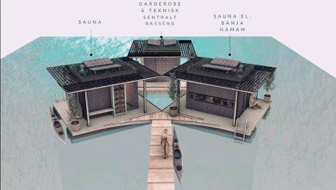 VED HURTIGBÅTKAIA: Badstuanlegget vil ha en lengde på cirka 16 meter ganger 16 meter og ligge like ved Hurtigbåtkaia i Harstad havn.