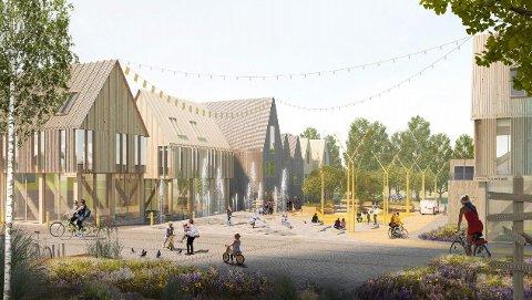 FRAMTIDSBILETE: Slik ser MAD arkitekter føre seg Varhaug sentrum i framtida. Bygget til høgre er i dag der slakterbutikken ligg. Vegen forbi denne er tenkt som einvegskjørt. Vegen vidare forbi rådhuset mot Coop Extra er foreslått stengt for kjørande.