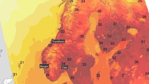 Hett: Gradestokken bikker godt over 30 grader fredag. Det ligger godt an til varmerekord.