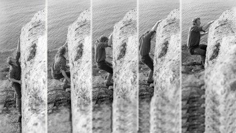 Billedserien er fra klatring i det området der det nå er planlagt parkeringsplass, og det er Arild Meyer som klatrer i april 1979.