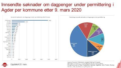 DAGPENGER: Situasjonen i Agder-kommunene onsdag.