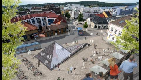 SENTRUM: Slik har man forestilt seg en løsning ved basartaket tidligere, Eirik Tveiten vil, dersom valgresultatet tilsier det, fremme forslag om å revitalisere planene.