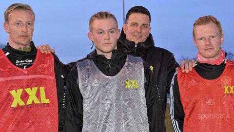 Viktige: Hovedtrener Tor Egil Glommen mener disse tre vil bety mye denne sesongen: Jørand Skogseid (f.v.), Anders Halvorsen, Glommen og Axel Trippier Kolstad