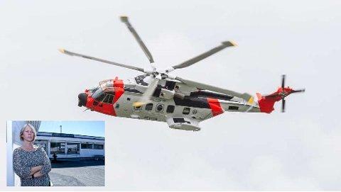 KLAR TALE: Ordfører Arnhild Holstad (innfelt) i vertskommunen Namsos er ikke i tvil om at landingsplass for det nye redningshelikopteret må være den permanente løsninga.