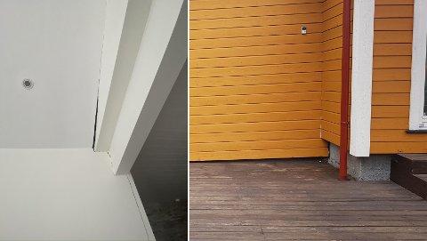 Bildene er fra rapporten til takstmannen, og viser at den tilbyggede stuedelen «løsner» fra hoveddelen.
