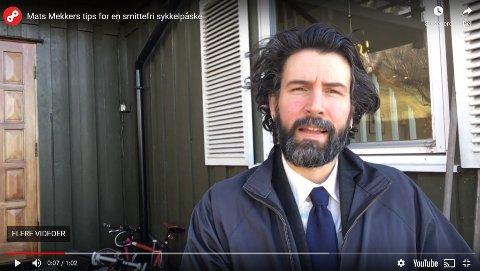 LETT LÆRING: Mats Larsen, også kalt Mats Mekker, lærer bort løsninger han har lært fra sine egne feil som tidligere sykkelmekaniker og satsende på sykkelrytter. Skjermdump: Mats Larsen/Sykkeforbundets YouTube-kanal