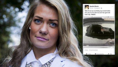 IRRITERT: Sandra Borch har fått bakruta på bilen sin knust. Foto: Scanpix/Instagram