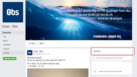 Et typisk eksempel på en falsk Obs-side på Facebook. Den er registrert som et samfunn for å prøve å lure reglene til Facebook.