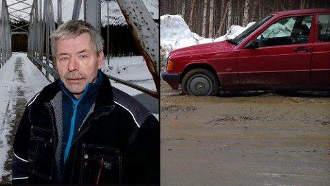 UHELL: Arvid Bergmo har brukt dagen på å fikse bilen etter at eksosrøret falt av da samboeren skulle kjøre til jobb