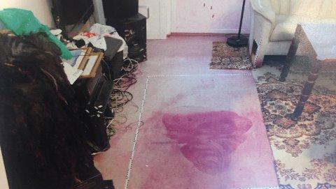 BLODSPOR: Dette bildet er tatt av politiet inne i leiligheten til mannen som da var i slutten av 40-årene. Det rosa i bildet er et middel som kriminalteknikere har brukt for å få frem blodspor.