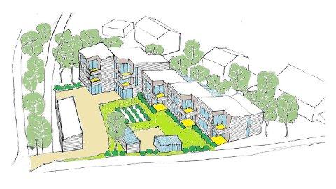 FELLESSKAP: Slik er Seniorhus-prosjektet på Tromsøya illustrert i planbeskrivelsen.