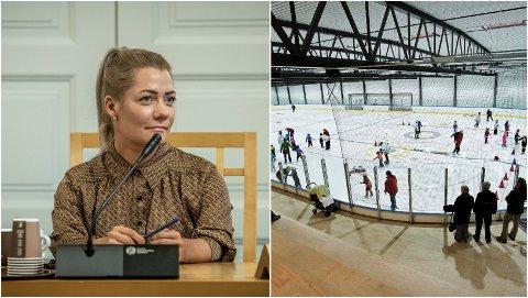 OL-PLANER: Sandra Borch vil kjempe for OL i Norge og ny moderne ishall i Tromsø. Til høyre bilde av Tromsø Ishall, som ikke tilfredsstiller kravene for en ishall til OL-bruk.