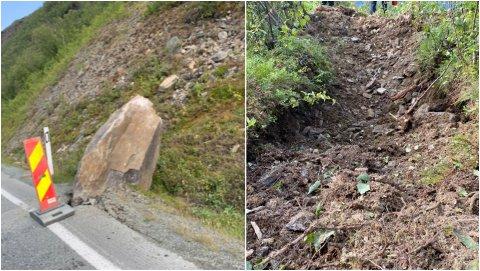 I VEIKANTEN: En av steinene havnet like ved veikanten. Til høyre bilder av de dype sårene i terrenget.