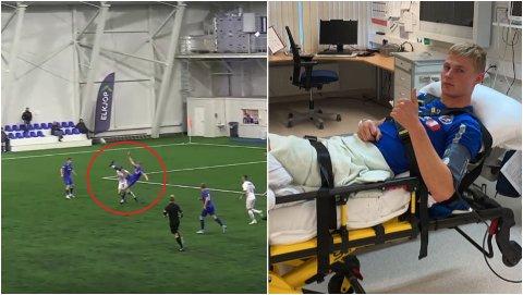 SKREKKSKADE: Til venstre lander Brage Karlsen forkjært og pådrar seg en alvorlig skade. Til høyre ligger han på Harstad sykehus.