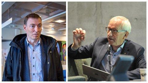 HEMMELIGHOLDT: Magnus Mathisen (rådmann i Gjøvik) og Jørn Wroldsen (viserektor ved NTNU i Gjøvik) er blant de anonymiserte informantene til sykehusanalysen som anbefaler hovedsykehus i Brumunddal. De sier de ikke finner igjen egne uttalelser.