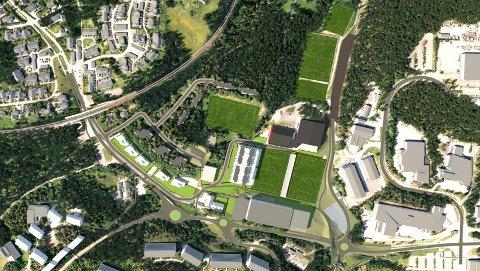 BOLIGER OG HALL: Langhus Allianseidrettslag vil ha boliger på toppen av en hall for å finansiere andre ting i idrettsparken.
