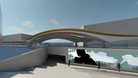 BANE NOR: Illustrasjon av den nye undergangen til Ski stasjon sett utenfra.