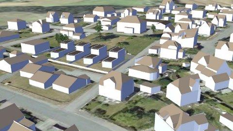 NEI: Kommunen vil bygge dette på Nanset, men naboene sier nei.