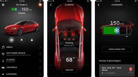 Det fins flere mobil-apper for Tesla-er. Noen av dem kan sette mobilen i bevegelse, men da bør man være edru. Illustrasjon: Bergensavisen
