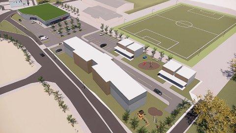 UENIGE: Utbyggerne av Pors-tomta vil bygge hallen på den ni mål store tomta, mens IF Pors vil bygge på den gamle treningsbanen. På skissen er Pors alternativ tegnet i silhuett, sammen med klubbhuset øverst i bildet.