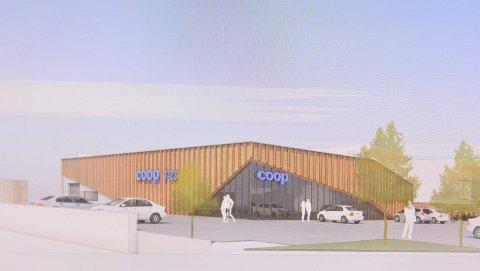 SKISSE: Her er arkitektfirmaet SPIRs skisse av den nye Extra-butikken i Hovenga. Det endelige reguleringsforslaget skal til politisk behandling. Coop regner med ett års byggetid fra de får godkjent planene.