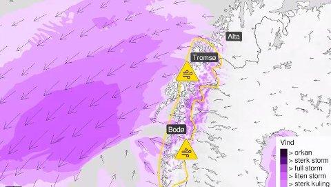 Økende styrke: I følge meteorolgene skal det blåse kraftig opp, og dermed har de sendt ut farevarsel.