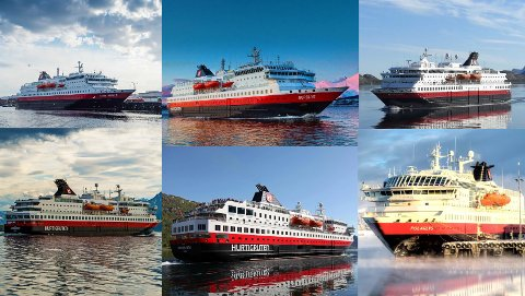 ØVERST FRA VENSTRE:   «Kong Harald», «Nordlys», «Nordkapp», «Nordnorge», «Richard With», og «Polarlys» seiler fortsatt på diesel.