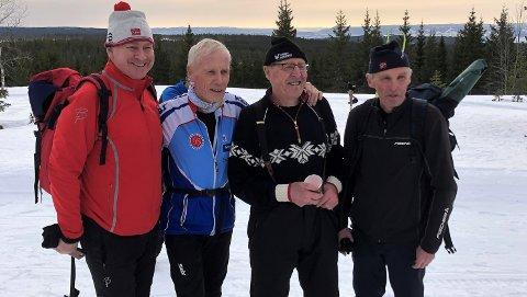 Kjente skifolk:Inge Andersen (f.v), Olav Høiås, Ole og Odd Martinsen hadde tatt turen.