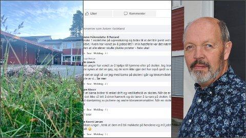 STORT ENGASJEMENT: Før lunsj mandag hadde over 150 personer sagt sin mening om ugressplukking i skoletiden. Rektor ved Harestua skol, Arild Sandvik, får stor støtte.