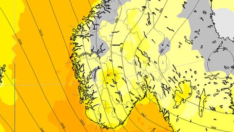 EKSTREMT: Kartet viser hvordan vinden kan treffe landet andre juledag. Jo mørkere farge, jo kraftigere vind. (Foto: MET)