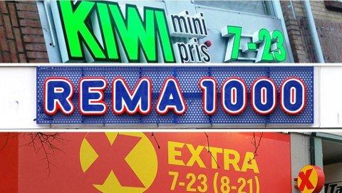 NESTEN LIKE BILLIG: Rema 1000, Kiwi og Extra er de tre store lavpriskjedene i Norge og har to tredjedeler av det norske dagligvaremarkedet. Foto: Bergensavisen/NTB Scanpix/Coop