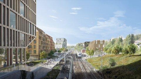 NYE STASJON: Utbyggingsområdet sett i fra Bråtebrua. Bygget nærmest til venstre er BKB3, som skal bli på 10 etasjer. Alle fem planlagte bygg ses på skissen, også stasjonsbygningen.