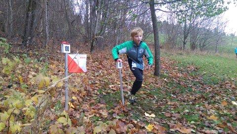I LØYPA: Linus Hognestad Sennels på full fart i høstskogen.