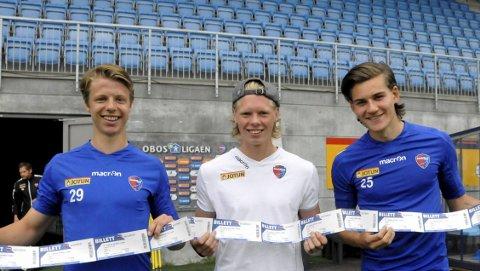 Ønsker støtte: Eirik Offenberg, André Sødlund og William Kurtovic håper mange vil se 4. rundekampen mot Sandnes Ulf.